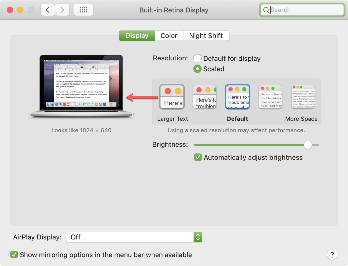 Mac Display Scaled