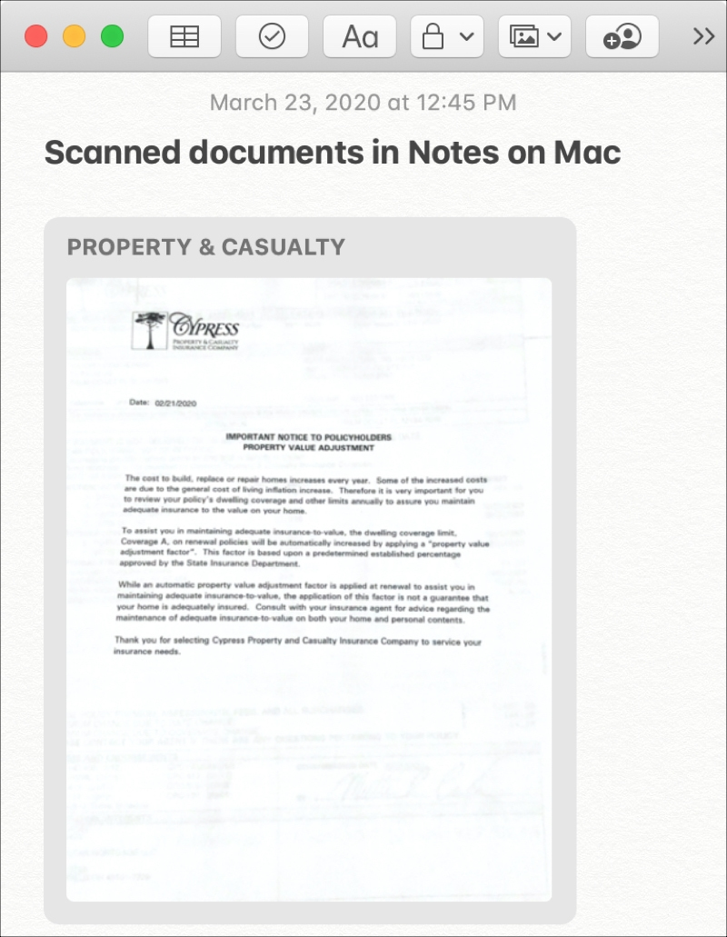 Mac Notes Scanned Document from iPhone