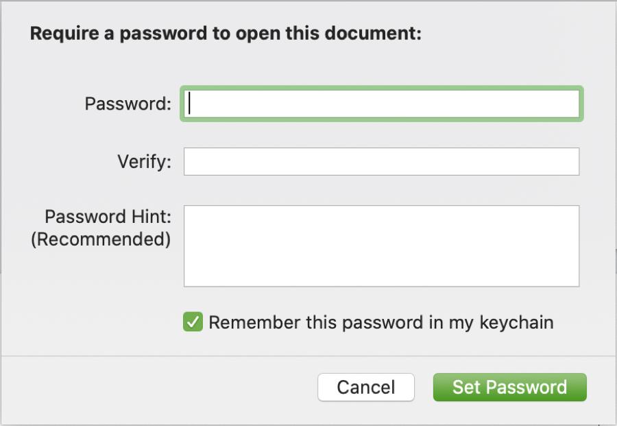 Set Password Use Hint Keychain Mac