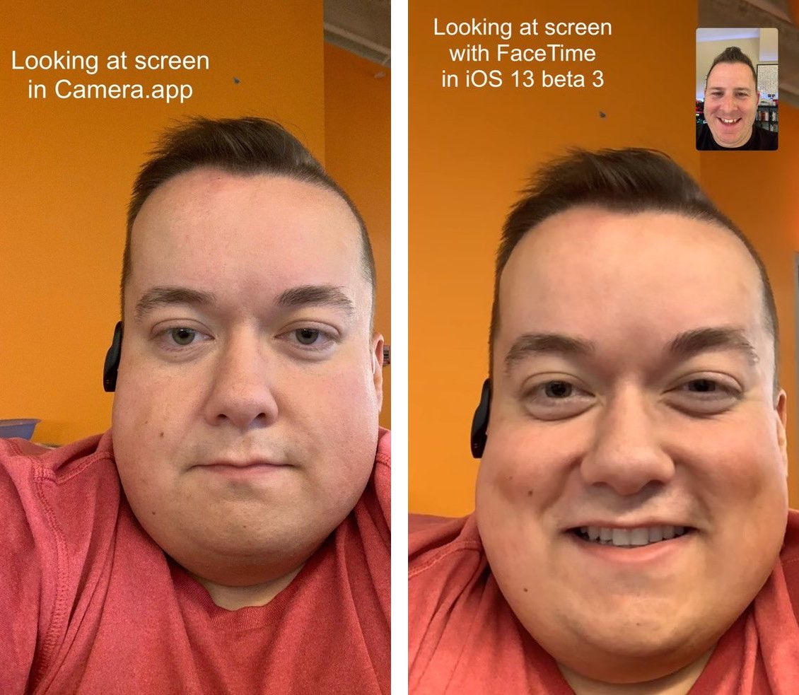 FaceTime eye contact correction attention side-by-side example