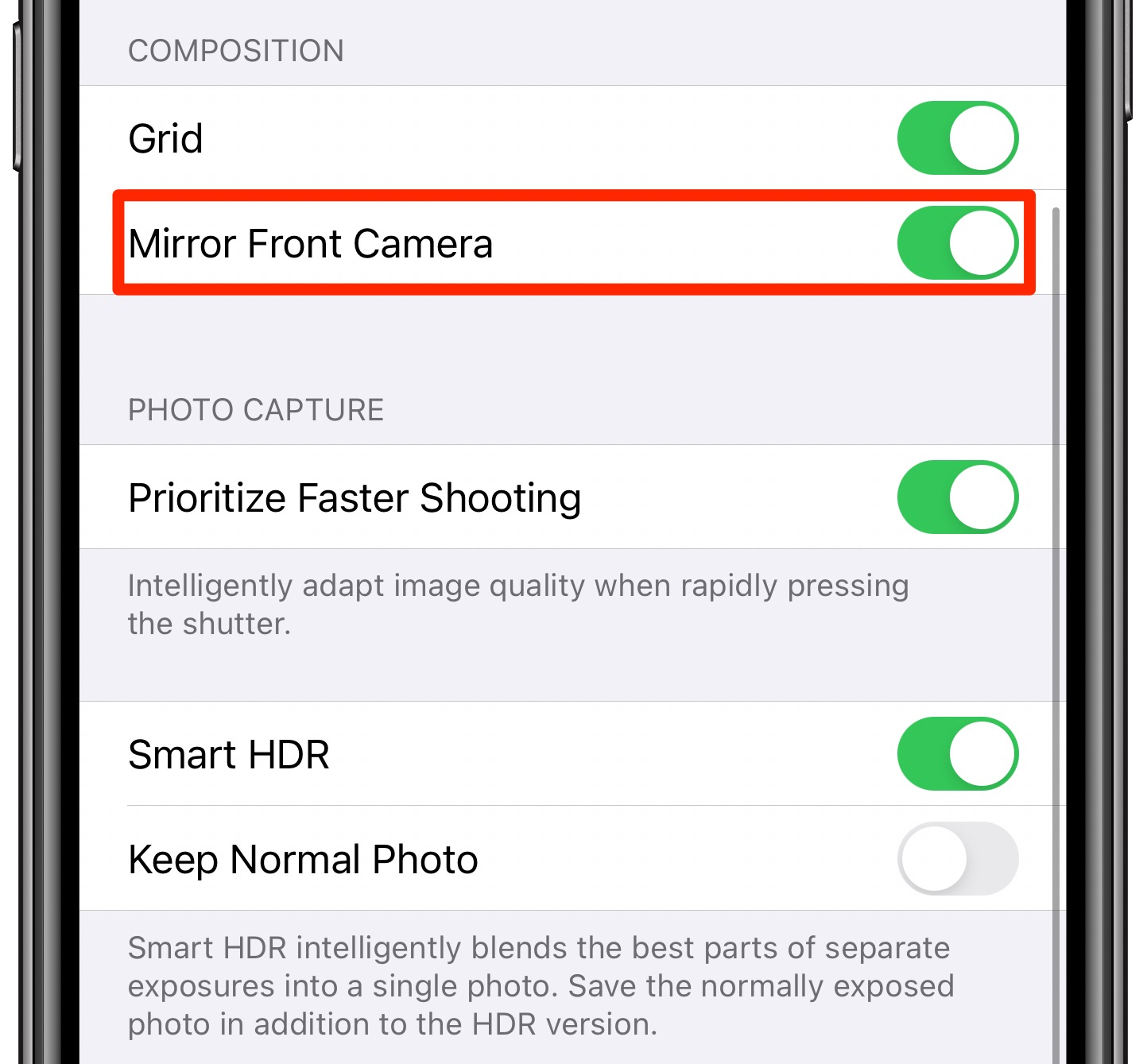 Mirrored iPhone selfies - the Mirror Front Camera option enabled and highlighted in Camera settings