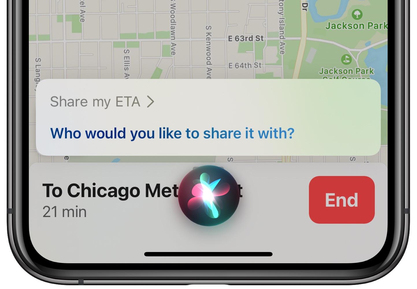 share eta apple maps siri - iPhone screenshot