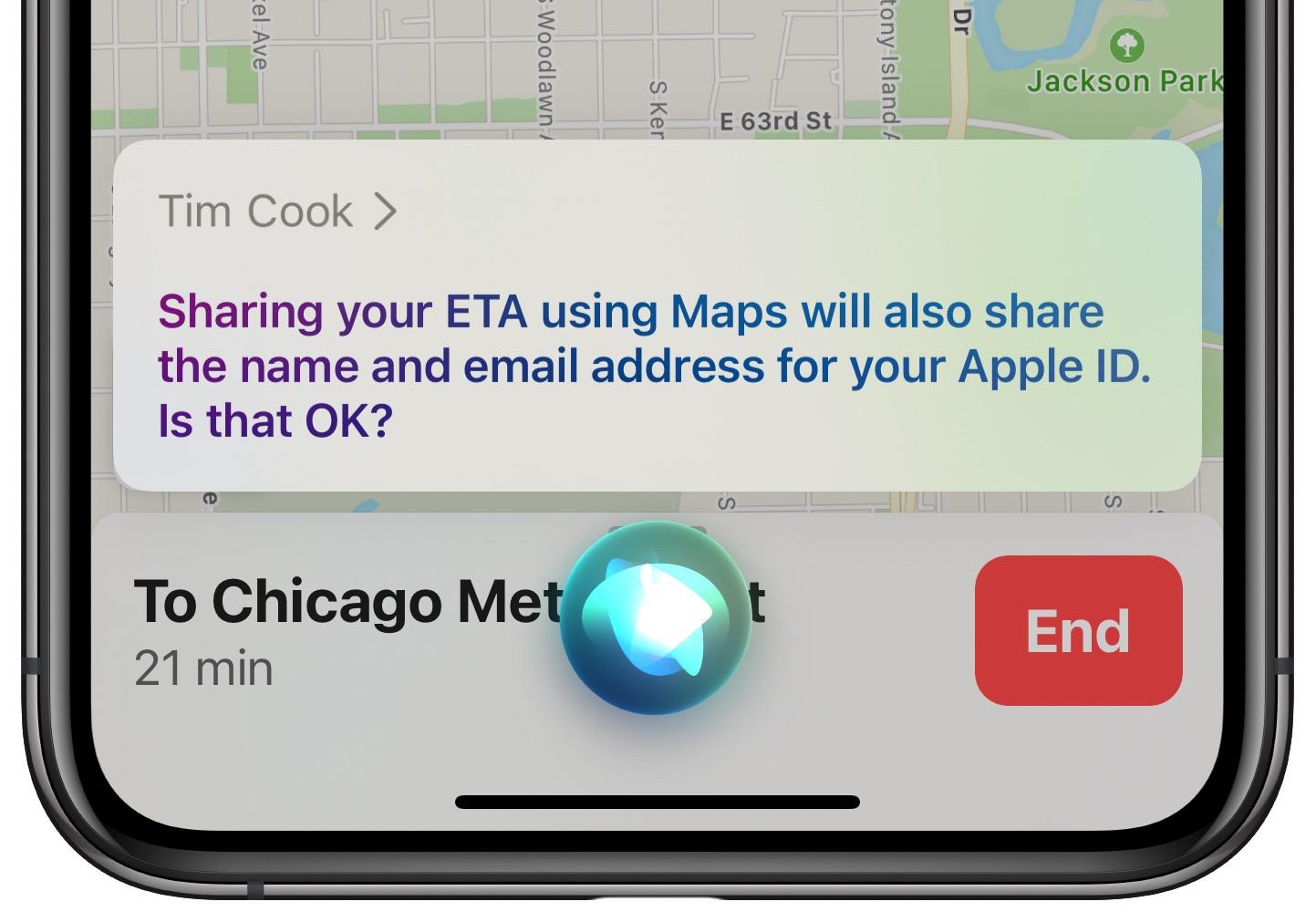share eta apple maps siri - privacy disclaimer