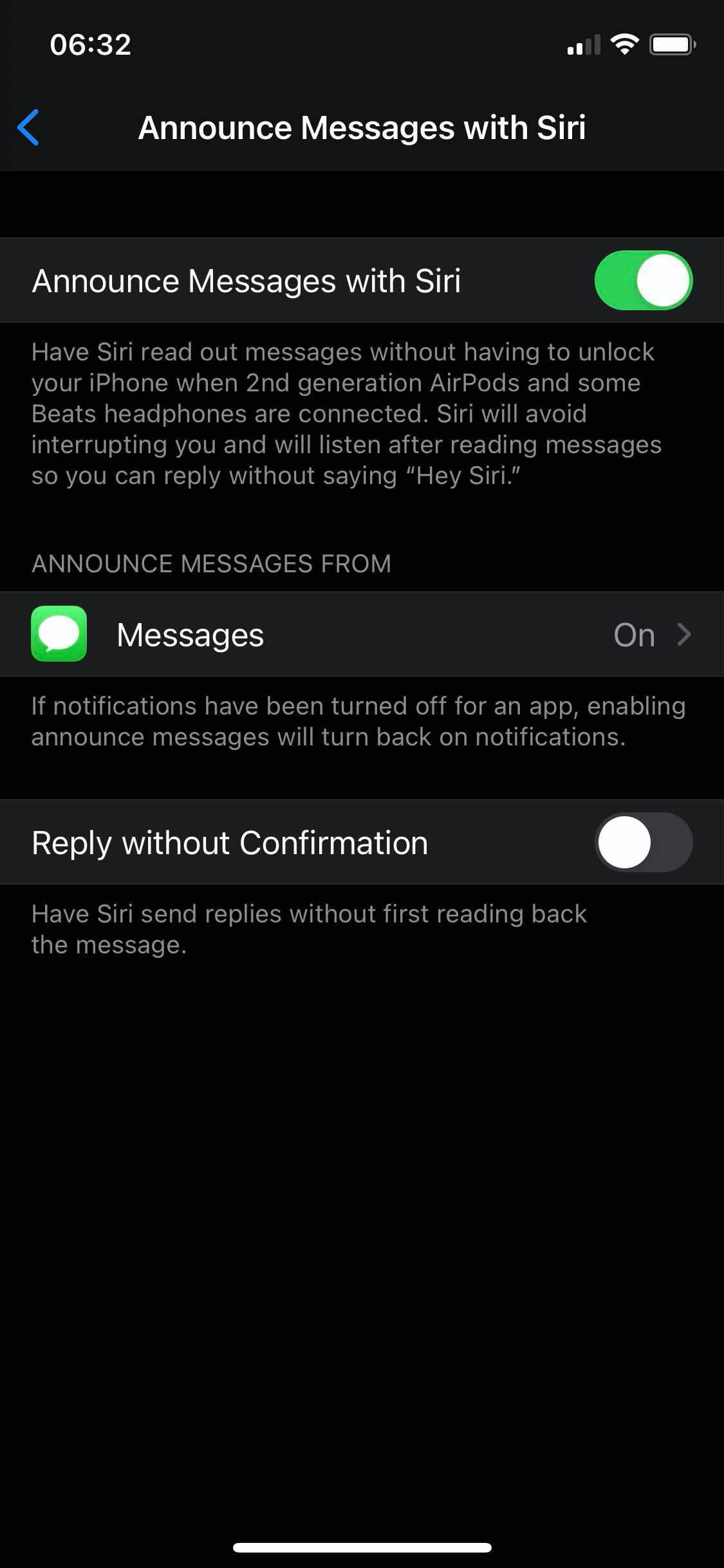 Announce Messages with Siri Enabled on iPhone