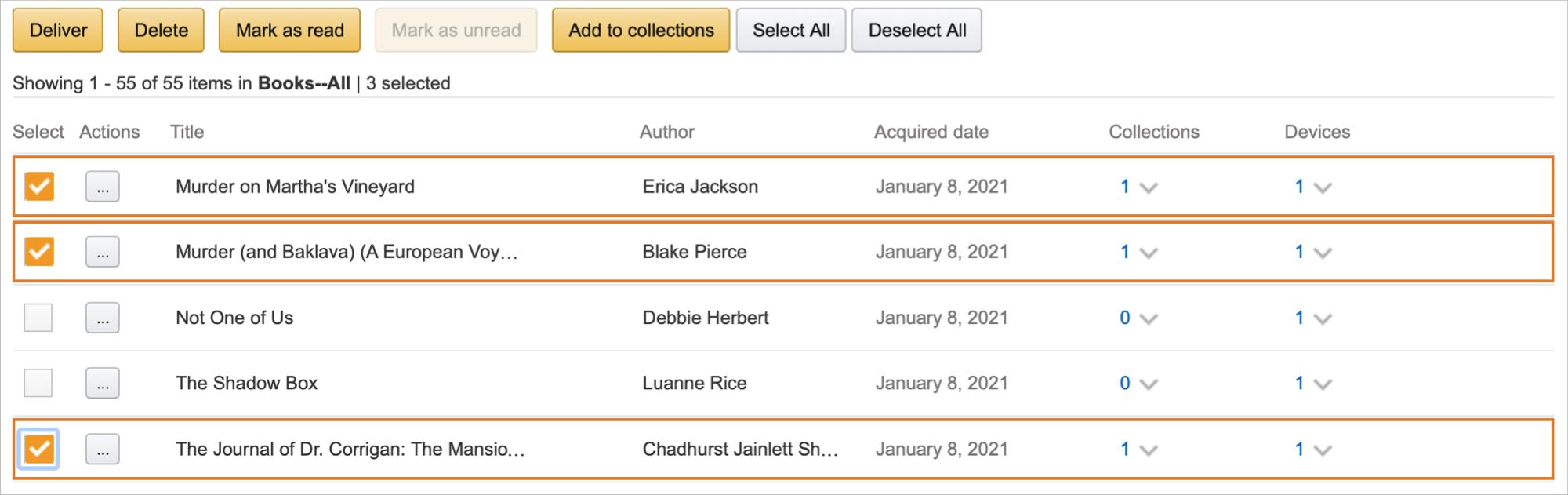 Amazon Bulk Actions for Kindle Content