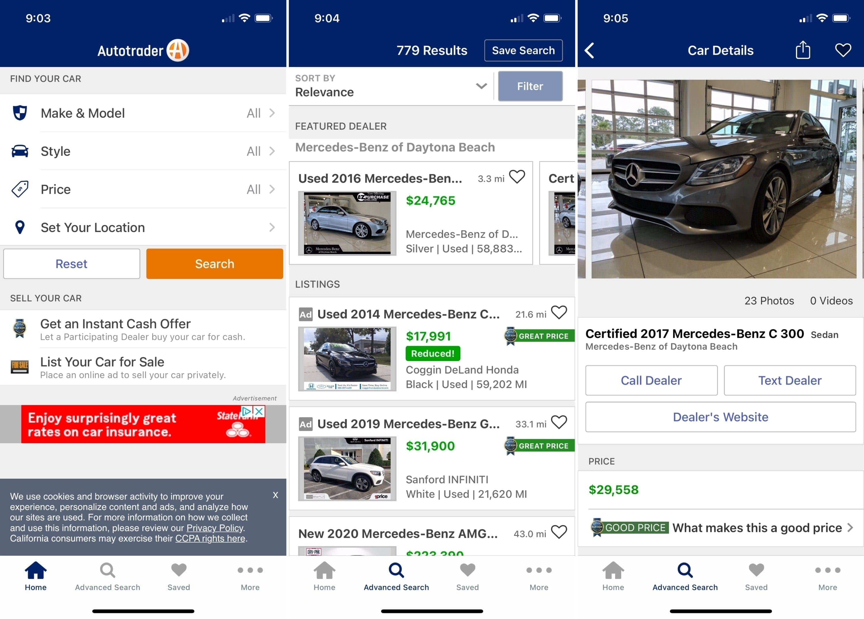 Apps for buying a car - Autotrader on iPhone