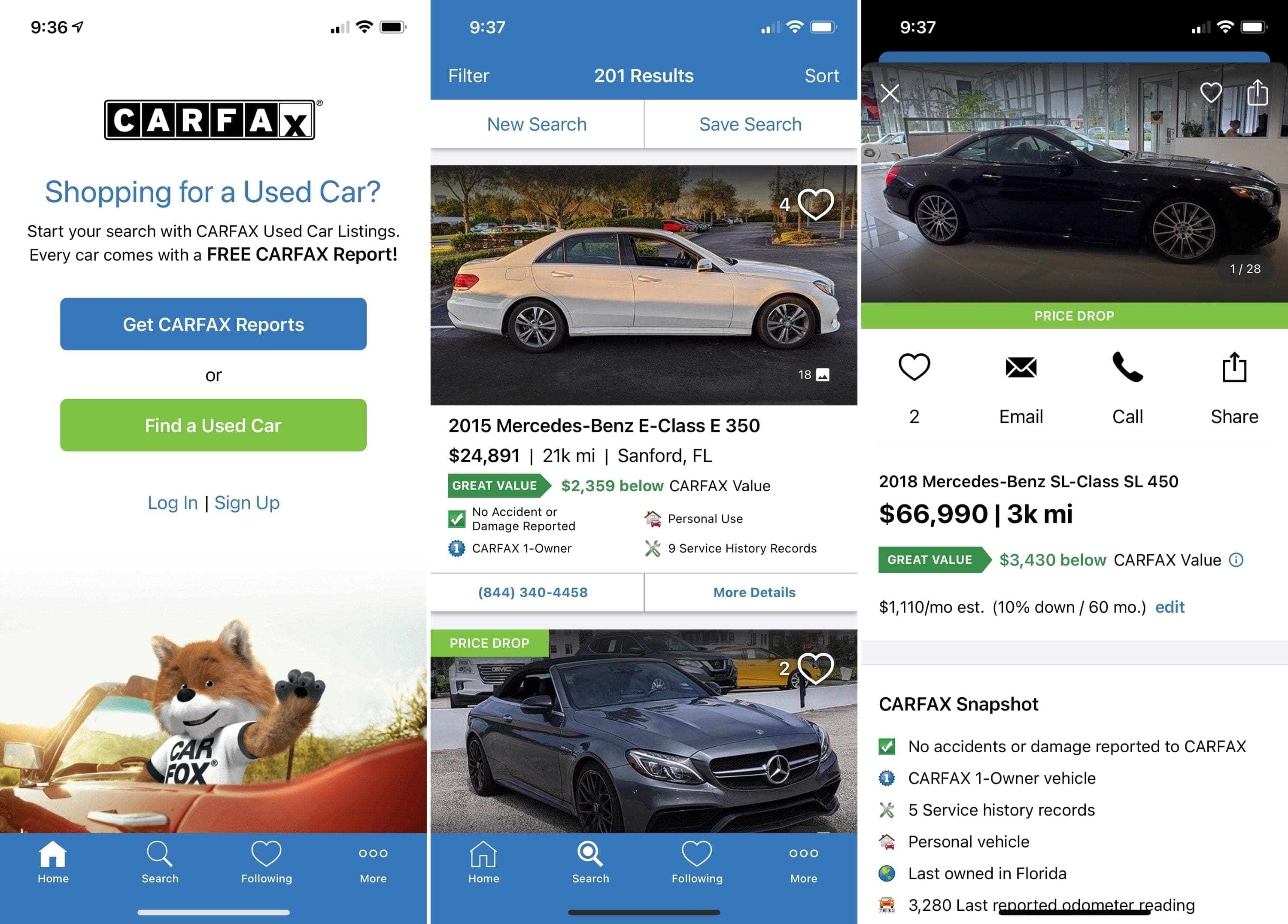 Apps for buying a car - CarFax on iPhone