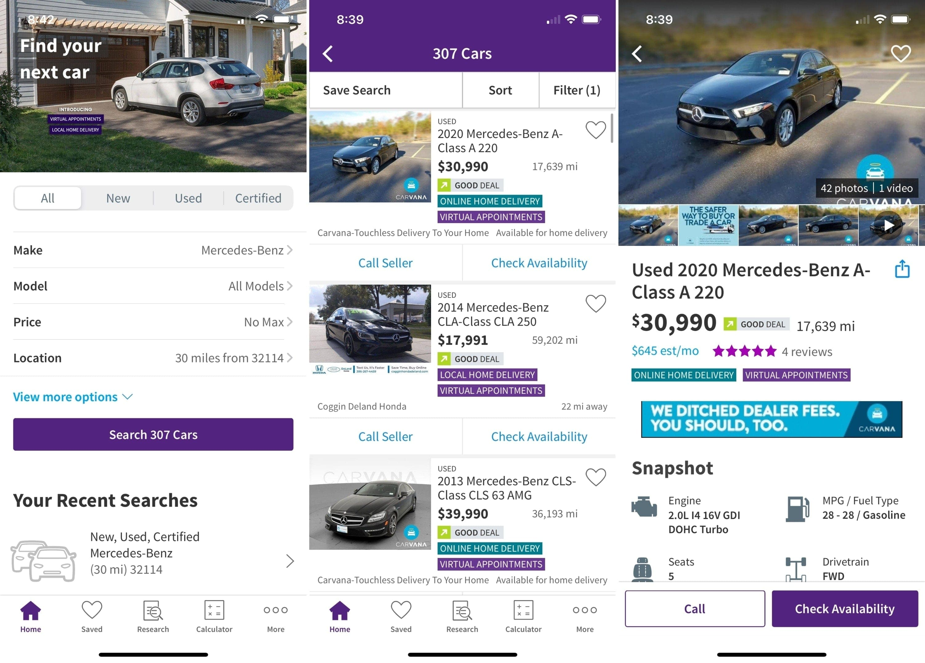 Apps for buying a car - CarsDotCom on iPhone