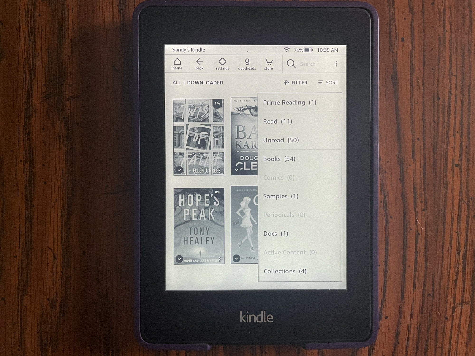 Filter Library on Kindle Paperwhite
