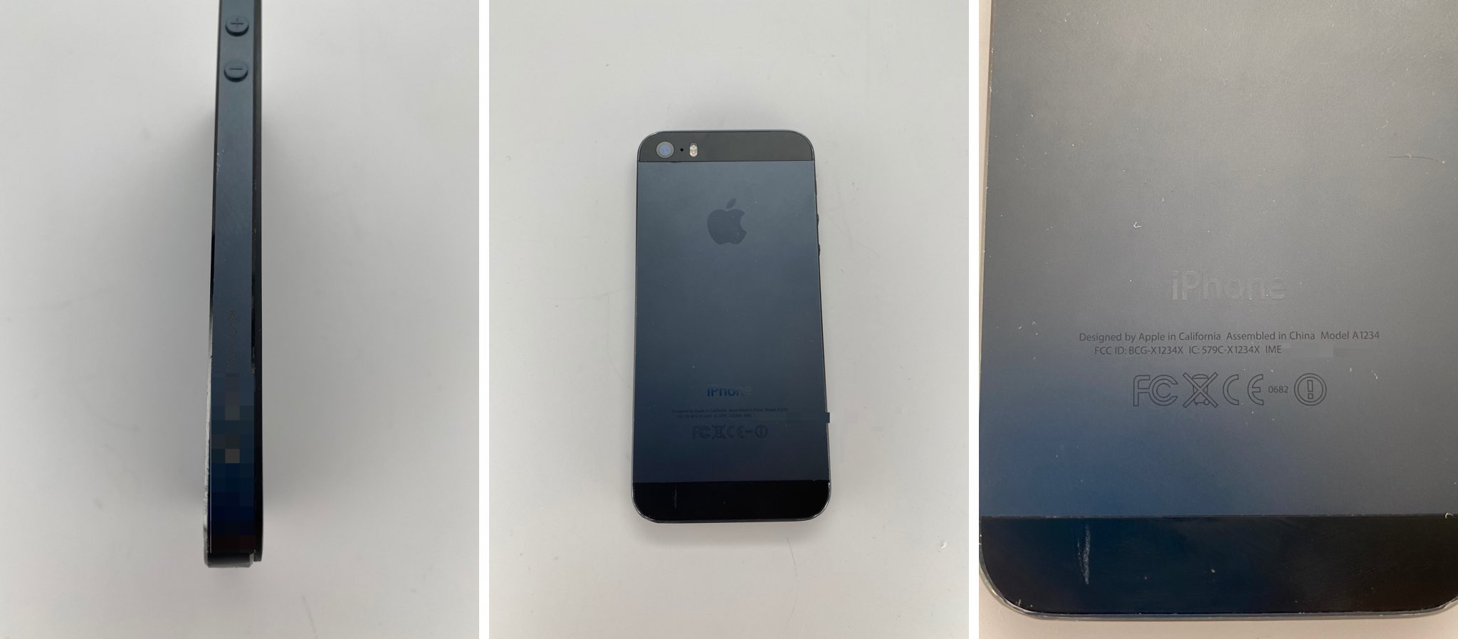 Photographs of an iPhone 5s prototype in an unreleased Black and Slate color, concealed in a stealth case
