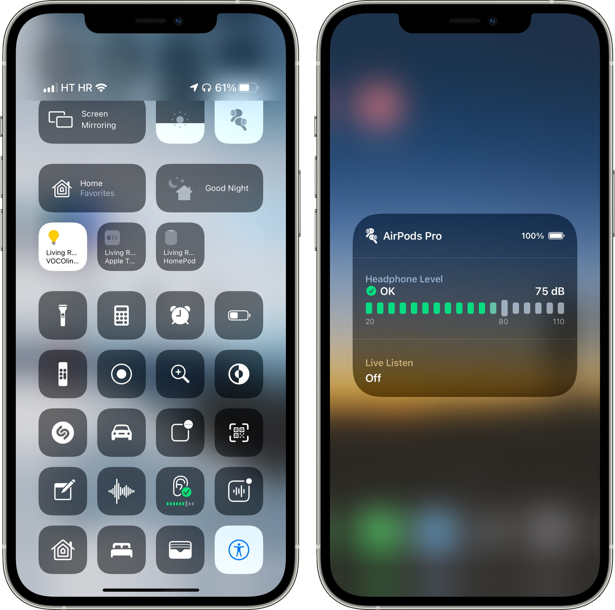 The Control Center on iOS 14 with the Hearing option shown in action on iPhone