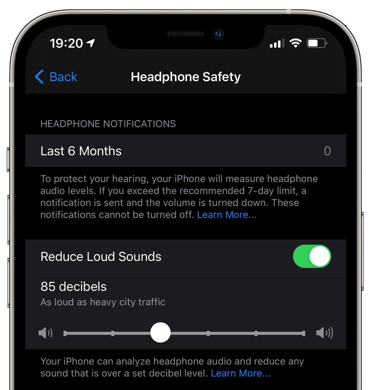 Headphone Safety settings on iPhone with the Reduce Loud Sounds option turned on