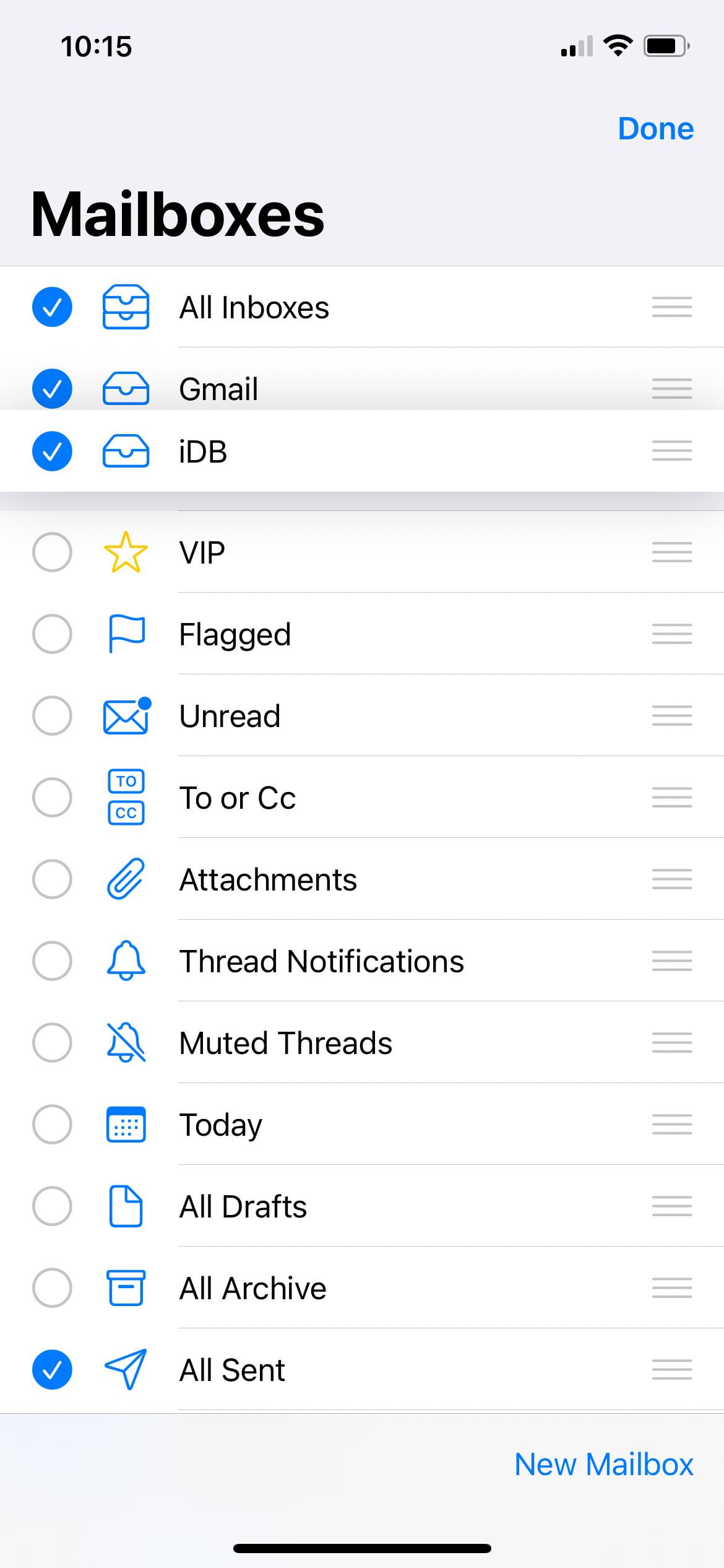Rearrange mailboxes