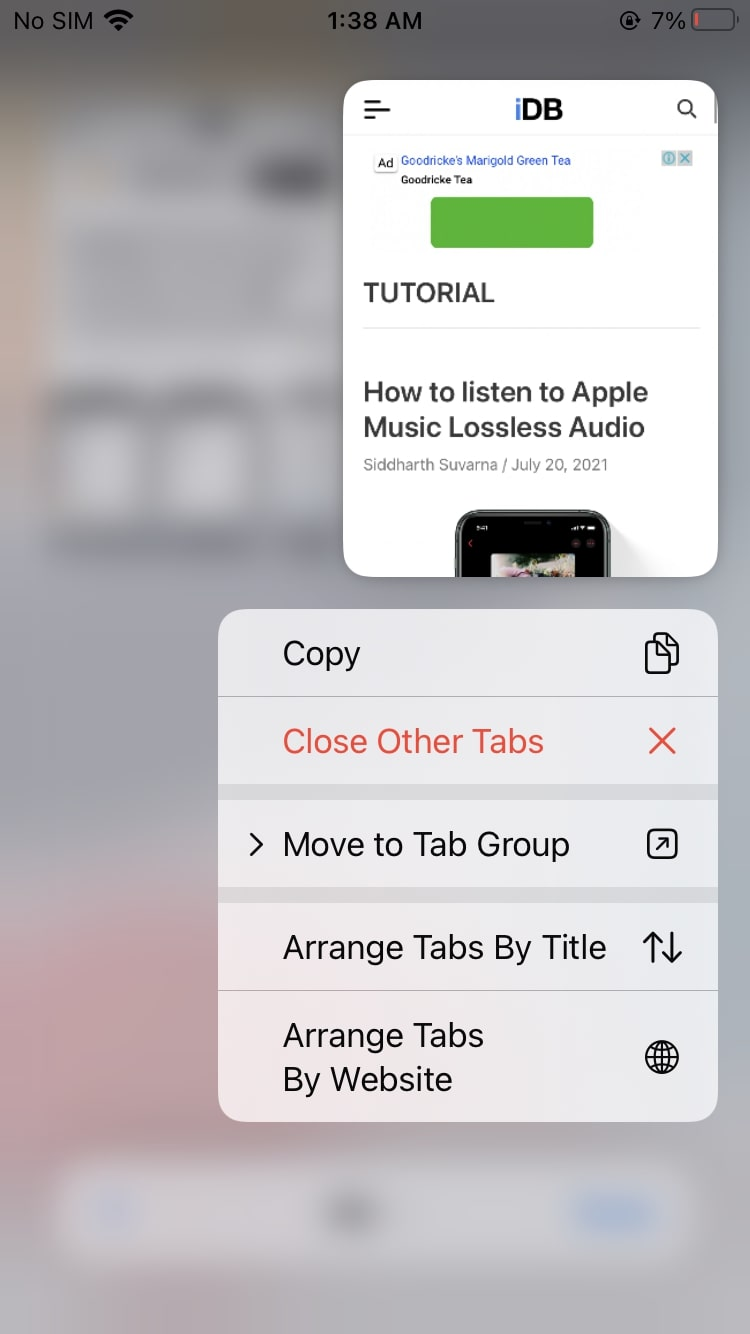 Move and arrange tabs in a group