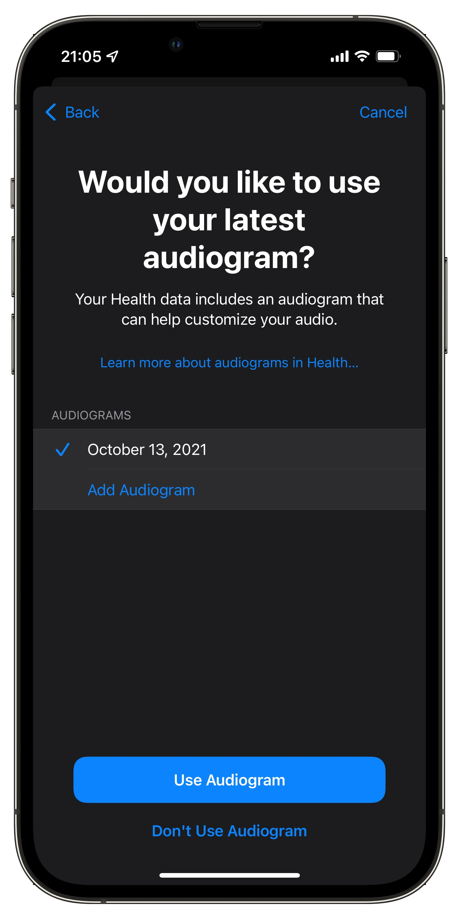 An iPhone screenshot on iOS 15 showing choosing a listed audiogram to add to iPhone